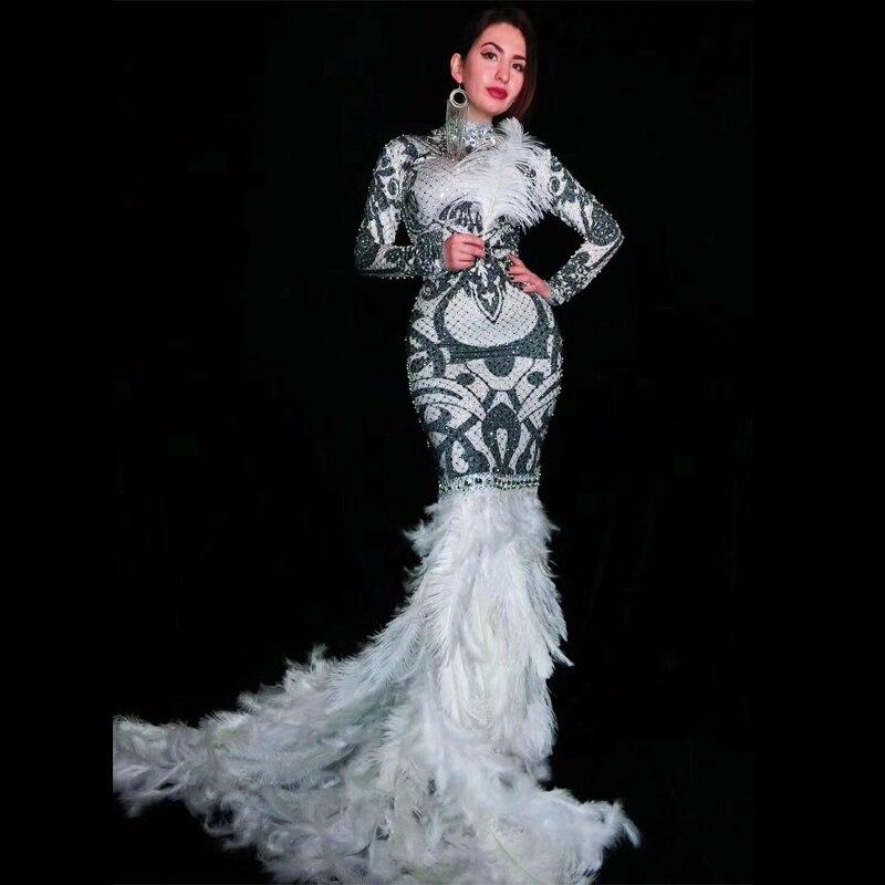 Sexy Women Prom Birthday Celebrate Dresses Black White Rhinestones Long Train Feather Dress Gogo Evening Wear DJ Costume DT943