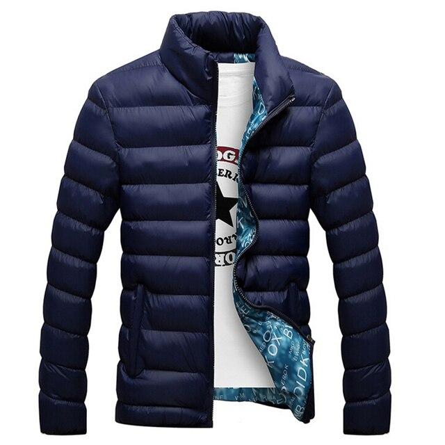 Jaqueta de inverno Dos Homens Casuais Gola de Moda de Nova Mens Jaquetas E Casacos de Algodão-Acolchoado Parka 5XL Cor Sólida Para Sobretudo dos homens