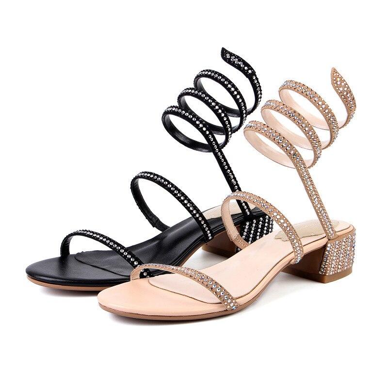 Sommer Quadratische Frauen Kid Apricot Gladiator Fersen Schlange Damen Bling Strass Stil Suede Schuhe Neue Wetkiss schwarzes 2018 Sexy Sandalen ECOBpqR