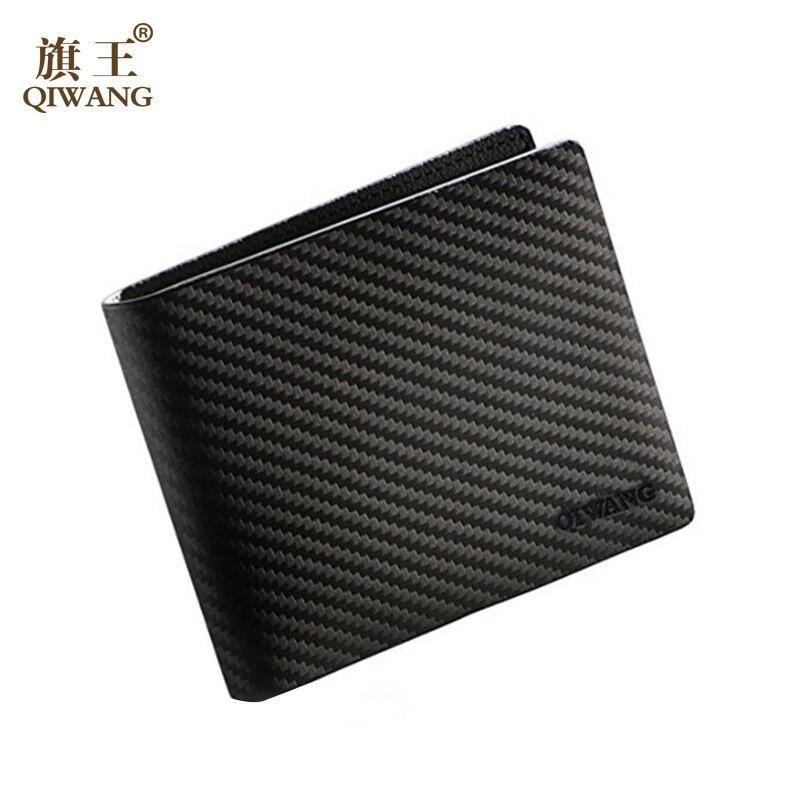 Luxury Brand Design Real Trifold Carbon Fiber Pattern Leather Short Vintage Wallet Business Men Fiber Purse