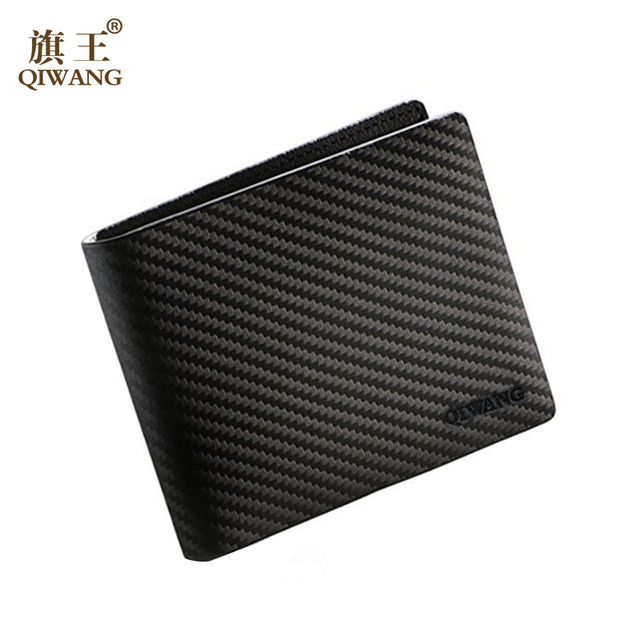 QIWANG Leather Men Wallet Carbon Pattern Luxury Leather Wallets Office Male Wallet Mature Man Bifold ID Card Holder Wallet 2018