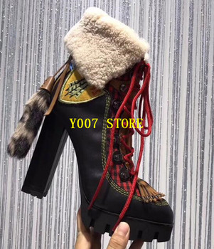 New Fashion Genuine Leather Patchwork Ankle Boots Sexy Lace Up Winter Warm Ladies Heel Boots Tassel High Platform Shoes