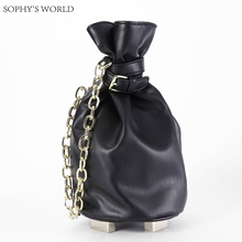 2017 Black Leather Women Bucket Bag Wristlets Chain Clutch Purse Bolsa Flap Designer Handbag Ladies Party Evening Bag