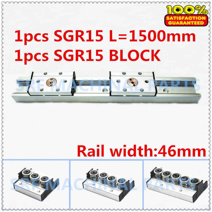 1pcs Aluminum Square Roller Linear Guide Rail SGR15 L=1500mm +1pcs SGB15 wheel slide block linear Motion slide rail precise linear guide rail 1500mm aluminum linear guide rail