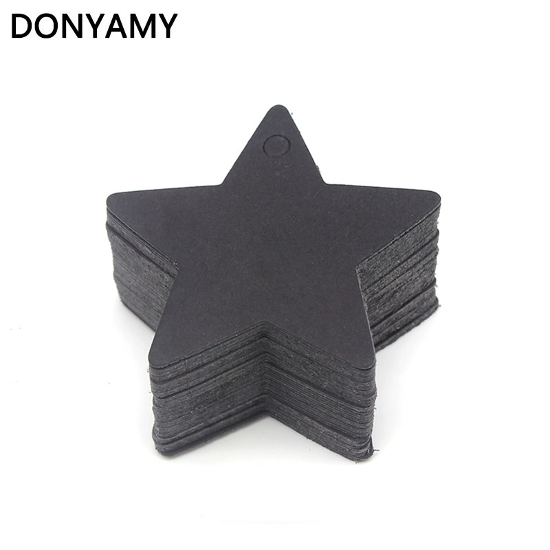 DONYAMY 50PCS 6*6cm Black Star Label Paper Tag Gift Hang Card Price Blank Karft Luggage Wedding Party