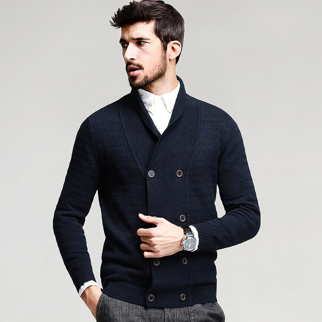 100% Cotton Striped Blue Knitted Sweater 2