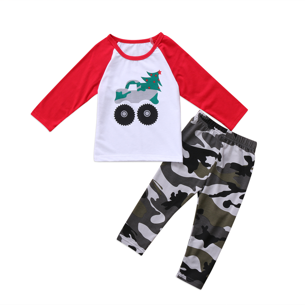 2Pcs Set Toddler Infant Kid Baby Boys Christmas Clothing Long sleeve T-shirt Tops+ Camouflage Pants Outfits Clothes Set 2pcs set autumn cartoon rabbit toddler baby kid girls long sleeve suit t shirt tops pants costume tracksuit outfits 1 5t