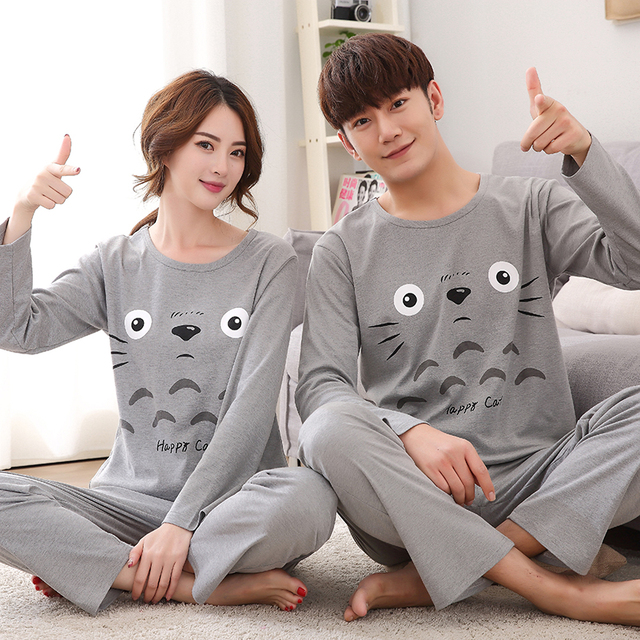 Thoshine Brand Spring Autumn 100 Cotton Couple Pijamas Sets Of