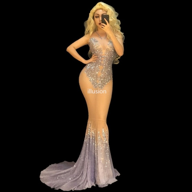 Sparkly Rhinestones See Through Mesh Tail Dress Evening Birthday Celebrate Party Dresses Women Singer Bar Stage Costumes YOUDU