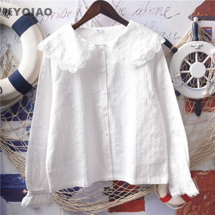 Women's Clothing Kyqiao White Shirt 2019 Mori Girls Autumn Spring Japanese Style Fresh Long Sleeve Turn-down Collar White Leaves Embroider Blouse