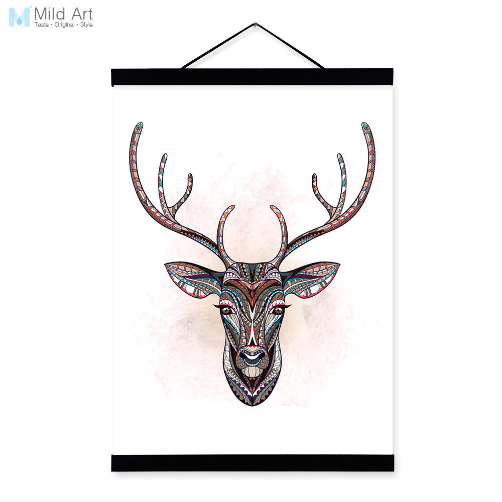 Modern Ancient <font><b>African</b></font> National Totem Animals Deer Head A4 Framed Canvas Painting Wall Art Prints Picture Poster <font><b>Home</b></font> <font><b>Decoration</b></font>