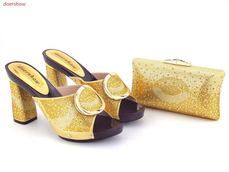 doershow Italian Shoe And Bag Set For Party Gold Rhinestone Evening Shoe African High Quality Sandal Matching Bags Set!GO1-4 doershow high quality italian shoe and bag to match women shoes african party shoes and bag set green with rhinestone kh1 3