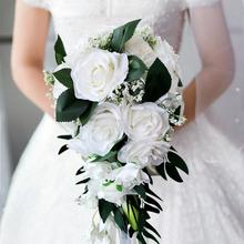 Realistic Wedding Bride Bouquet Hand Tied Flower Decoration Holiday Party
