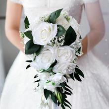 Realistyczny ślubny bukiet panny młodej ręcznie wiązany dekoracja kwiatowa materiały świąteczne europejski szezlong róże ślubne kwiaty