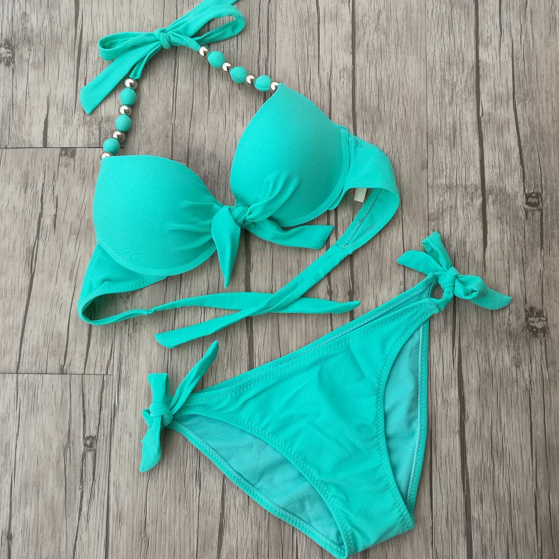 Full Real Women Green Bikini push up big Breast CUP swimsuit swimwear female high elastic Brazilian style  bikinis Set breast light detection device for the breast cancer self check up and breast clinical examination