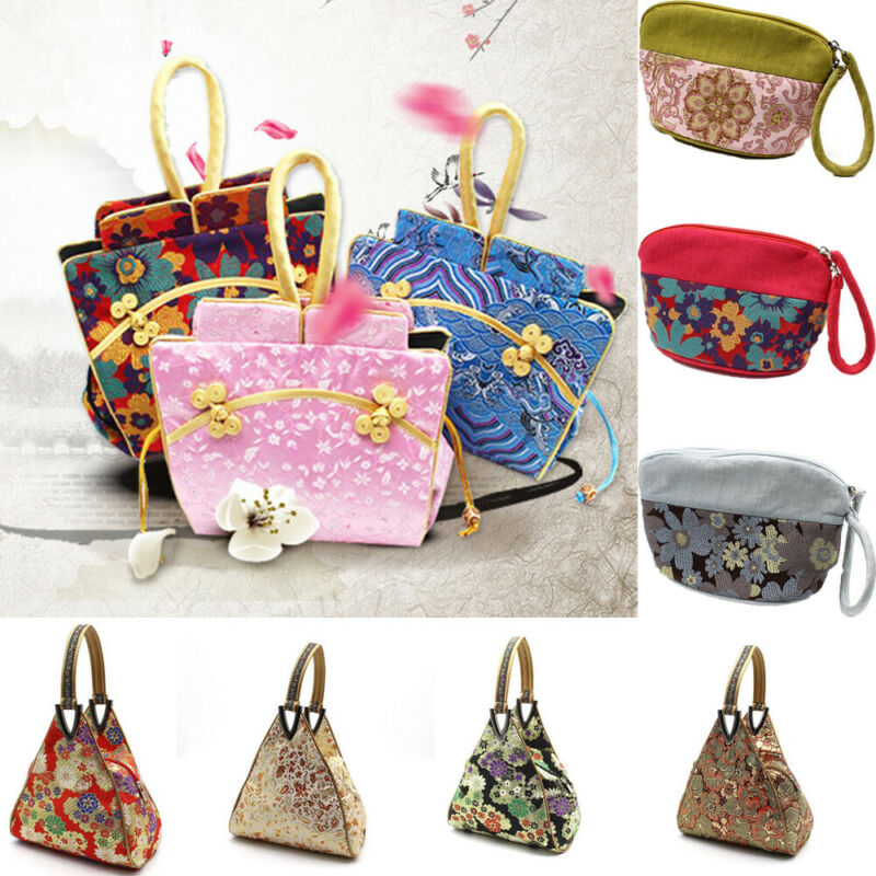 Woman Brocade handbag Burgundy Classic Silk Tote Oriental Woman Fashion