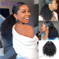 BEAUDIVA Kinky Curly Ponytail For Women Brazilian 3B 3C Natural Black Clip In Ponytails Human Hair Extensions Remy