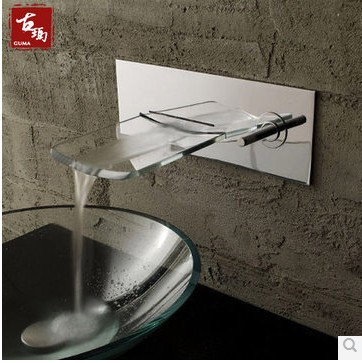 bathroom faucet glass Waterfall Wall Mounted Faucet Bath Basin Mixer tap wall mounted glass waterfall faucet glass tap