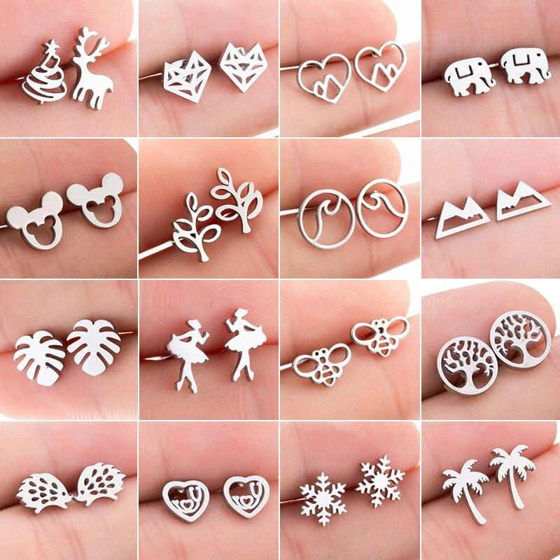 Jisensp Punk Stainless Steel Animal Heart Leaf Mickey Stud Earrings For Women Girls Minimalist Jewelry Earing Accessories Gift