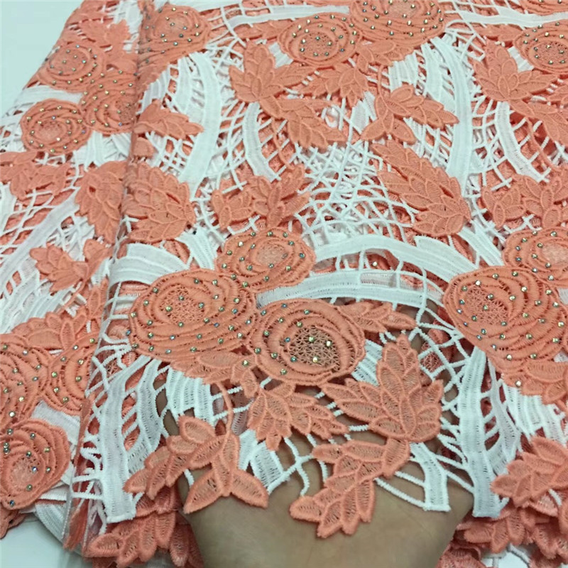 5 Yards African Lace Fabrics With Rhinestones Guipure Lace Fabric High Quality Nigerian Cord Lace Fabric For Wedding Dresses in Lace from Home Garden