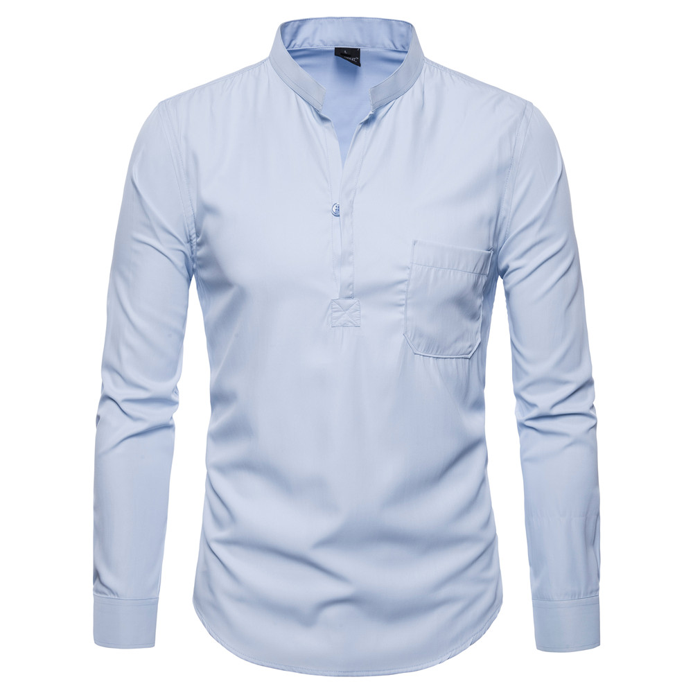 Shirt Men Stand Collar Chinese Style Slim Fit Clothes Men Long