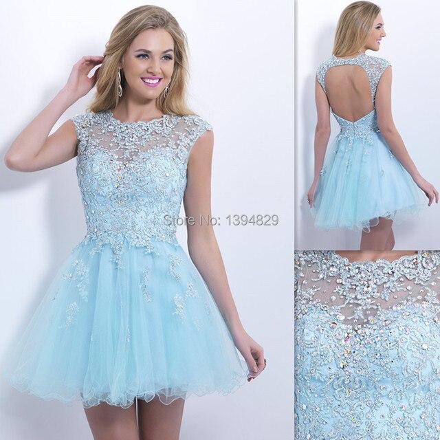 a5fc14730d2 2015 Fashion Light Sky Blue Short Prom Dresses Beach Sheer Cap Sleeves  Backless Homecoming Party Gowns Vestidos De Noche Cortos