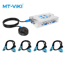 MT-Viki Kvm-switch VGA USB 4 Port Hotkey Wired Remote Controller hosts share a set of mouse button displays MT-401KL