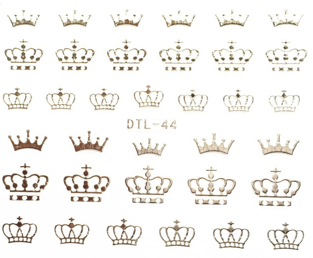 Wholesale 100sheets/lo DTL-44 1 Sheet Silver 3D Crown Design Nail Art Water Transfer Nails Stickers Decals for Nail Decorations
