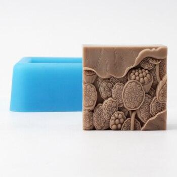 Силиконовая форма для мыла квадратная с рисунком лотоса для ручной работы