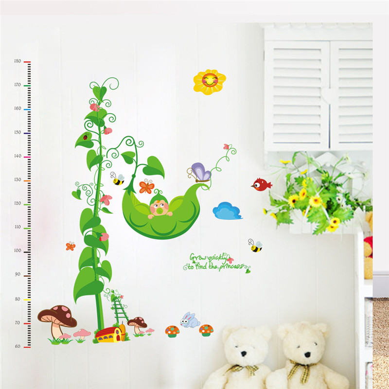 Children Room Diy Removable Waterproof Plastic Height Ruler Wall Stickers Creative Cartoon Pea Tree Decor Vinyls Decal In From Home