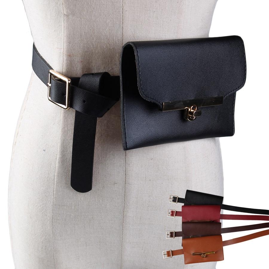 Jiessie & Angela New Fashion Leather Women Waist Bag Lady's Pouch Belt Waist Pack Phone Belt Bags Women Belt Bag цена