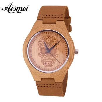 2018 New Arrive Men Wood Watches Design Flower Skull dial Genuine Leather Band Bracelet Handmade Bamboo Wooden Watch for male