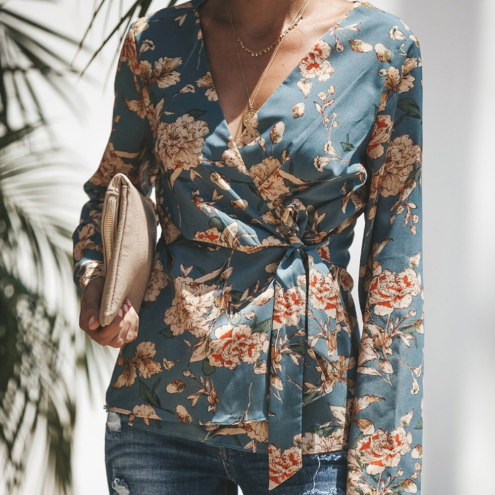 2018 mujer camisa Kimono Boho Cardigan Lace-up Floral impresión Floral chal cabo Outwear Tops