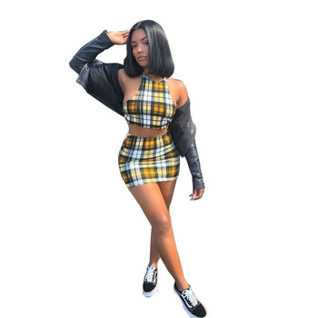 2019 Summer Two piece Set Outfits Sexy Yellow Plaid Crop Top Bralette and Skirt Women's Sets Summer Female Party Clubwear