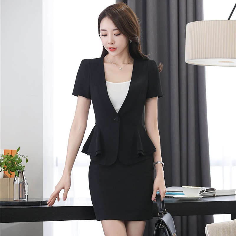 Formal Black Summer Blazers Suits With Jackets And Skirt 2017 Office Ladies Beauty Salon Outfits Work Wear Skirt Suits