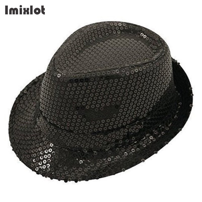 Imixlot Fashion Flashing Light Up Led Fedora Trilby Sequin Unisex Fancy  Dress Dance Party Hat-in Fedoras from Apparel Accessories on Aliexpress.com  ... f25c2d4dda80
