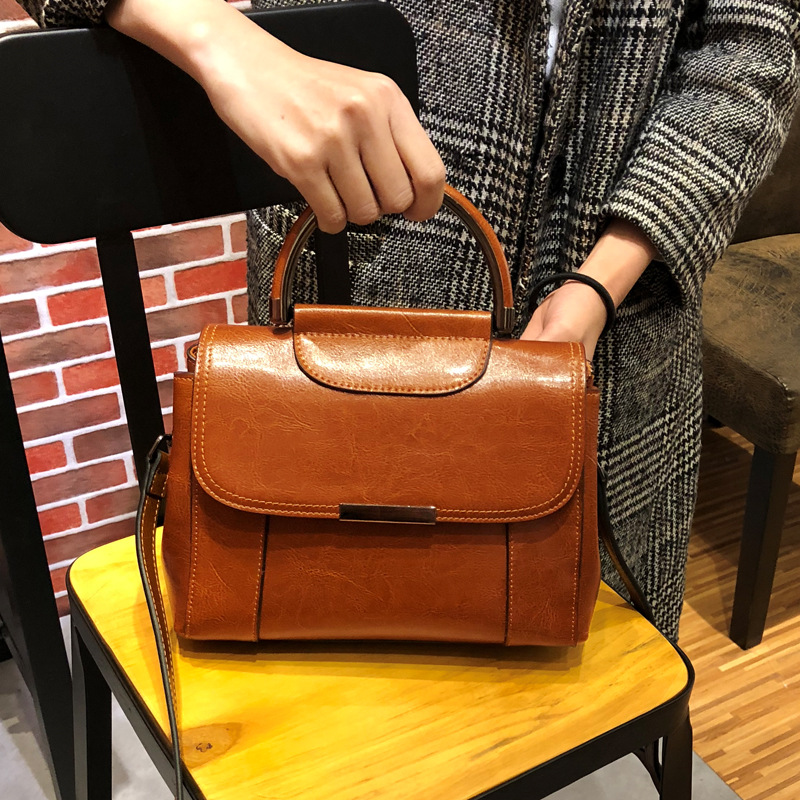 Vintage Women Bag Split Leather Small Handbags Single lady Shoulder Messenger Bag Brown Retro Satchel Bags for Girl viewinbox vintage shoulder bag split leather casual women messenger handbags retro box case bag