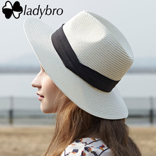 Ladybro Summer Women's Hat Brim Lady Beach Sun Hat Casual Panama Straw Hat Men Cap Sun Visor Cap Male Sombrero Chapeau Femme