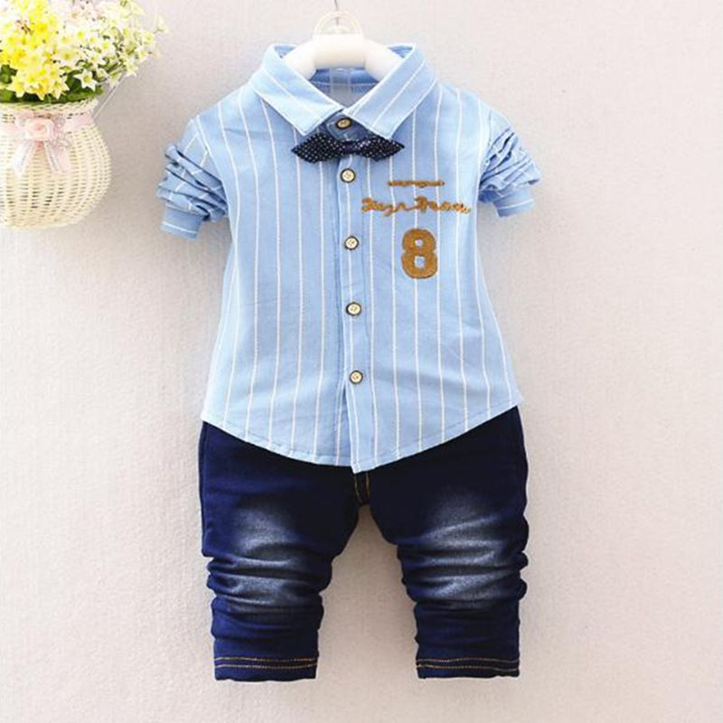 2018 Fashion Children Clothing Sets 2Pcs Infant Toddler Baby Boys Cotton Strip Bowtie Shirt+Jeans Outfits Kids Suit Dropshipping my little pony my little pony игровой набор my little pony пони