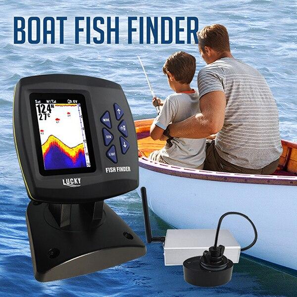 FF918-CWLS lucky boat fish finder cor display faixa de operação sem fio 300 m profundidade faixa 100 m