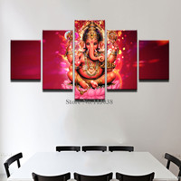 Hot Selling 5 Pieces India Tibetan Ganesha Canvas Painting Elephant Head God Printed Canvas Painting Living Room Wall Pictures