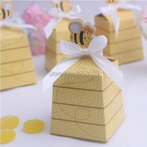 free shipping wholesale 30 sets baby shower favor box sweet as can bee mom and baby beehive favor box wedding gift candy box