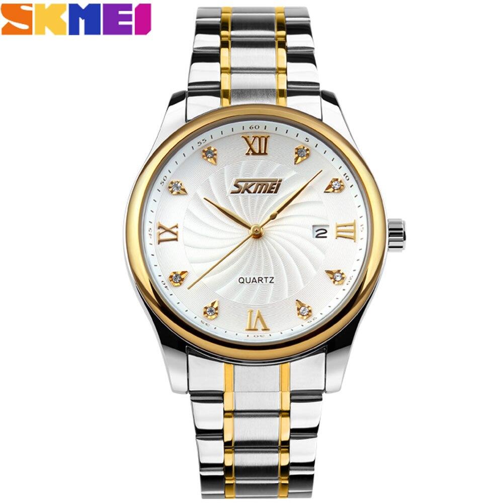 SKMEI 2017 china Brand Men Watches luxury analog Quartz Wristwatches auto date gold dial stainless steel band relogio masculino