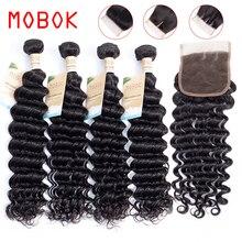 Mobok cabelo brasileiro de onda profunda, 3 pacotes de tecelagem com fecho de cabelo humano 4*4 com parte superior cabelo brasileiro remy