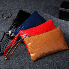 Woman Small Change Bag Coin Purse Fashion Wristlet PU Leather Clutch With Crocodile Printing For Mobile Phone Wallets Long fashion women s clutch bag with pu leather and crocodile print design