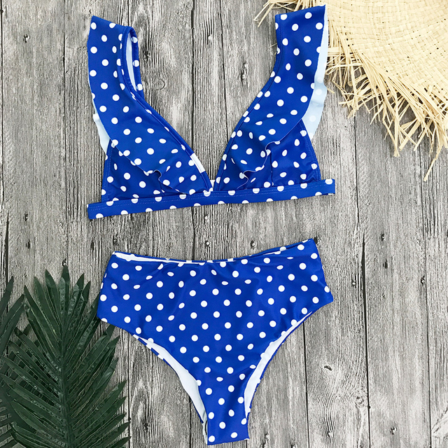 Bikini retro cintura alta puntos 3