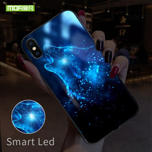 MOFI Smart Led Glow Phone Case For iPhone XS MAX Case Cover For Apple iPhone XR Funda Luxury Silicone TPU Wolf Glass Capa Shell(China)