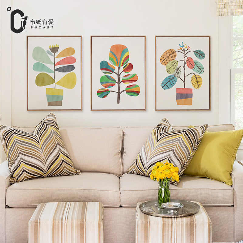 Colorful flowers modern style wall art canvas painting for living room decoration posters and prints No Frame