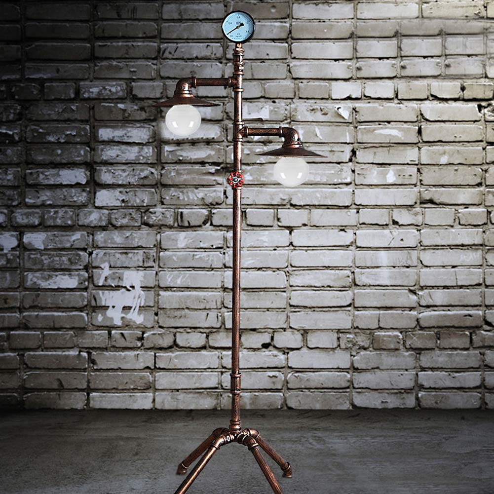Living Room Standing Light Wall Unit Design Vintage Creative Iron Water Pipe Floor Lamp Loft ...