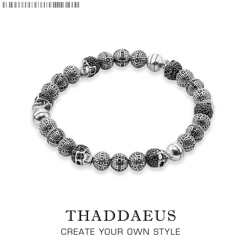 Rebel Skull Cross Beads Pulseras, Thomas Estilo Brazalete de Joyería Para Los Hombres, Enlace Regalo de Corazón En Plata y Zirconia, Precio Al Por Mayor